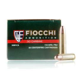 Image For 50 Rounds Of 110 Grain FMJ Boxer Brass 30 Carbine Fiocchi Ammunition