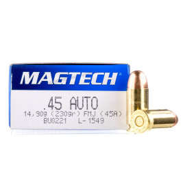 Image For 50 Rounds Of 230 Grain FMJ Boxer Brass 45 Auto Magtech Ammunition
