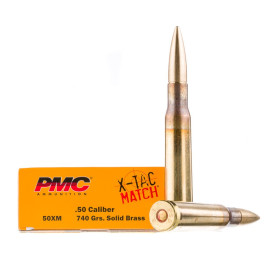 Image For 10 Rounds Of 740 Grain Solid Brass (Solid) Boxer Brass 50 BMG PMC Ammunition