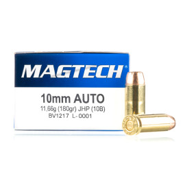 Image For 50 Rounds Of 180 Grain JHP Boxer Brass 10mm Magtech Ammunition