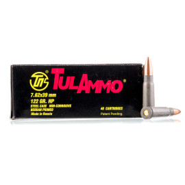 Image For 40 Rounds Of 122 Grain HP Berdan Steel 7.62x39 TulAmmo Ammunition