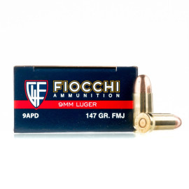Image For 50 Rounds Of 147 Grain FMJ Boxer Brass 9mm Fiocchi Ammunition