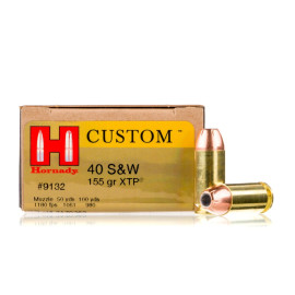 Image For 200 Rounds Of 155 Grain JHP Boxer Brass 40 Cal Hornady Ammunition