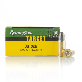 Image For 50 Rounds Of 146 Grain LRN Boxer Brass 38 S&W Remington Ammunition