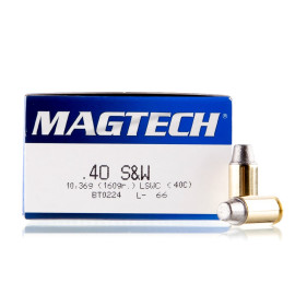 Image For 50 Rounds Of 160 Grain LSWC Boxer Brass 40 Cal Magtech Ammunition