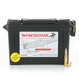 Image For 120 Rounds Of 147 Grain FMJ Boxer Brass 308 Win Winchester Ammunition
