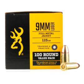 Image For 100 Rounds Of 115 Grain FMJ Boxer Brass 9mm Browning Ammunition