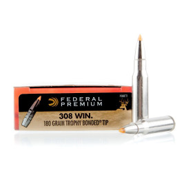 Image For 20 Rounds Of 180 Grain Trophy Bonded Tip Boxer Nickel-Plated Brass 308 Win Federal Ammunition