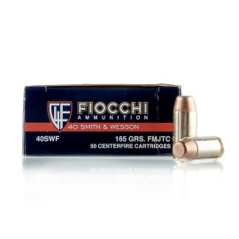 Image For 50 Rounds Of 165 Grain FMJ Boxer Brass 40 Cal Fiocchi Ammunition