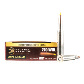 Image For 20 Rounds Of 130 Grain Nosler Ballistic Tip Boxer Brass 270 Win Federal Ammunition