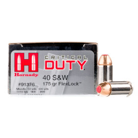 Image For 20 Rounds Of 175 Grain JHP Boxer Nickel-Plated Brass 40 Cal Hornady Ammunition