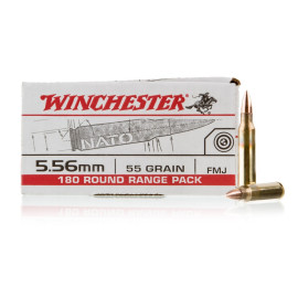 Image For 180 Rounds Of 55 Grain FMJ Boxer Brass 5.56x45 Winchester Ammunition