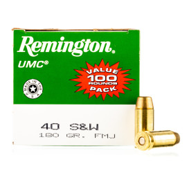 Image For 100 Rounds Of 180 Grain FMJ Boxer Brass 40 Cal Remington Ammunition