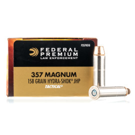 Image For 50 Rounds Of 158 Grain JHP Boxer Nickel-Plated Brass 357 Magnum Federal Ammunition