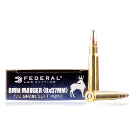 Image For 20 Rounds Of 170 Grain SP Boxer Brass 8x57 JS (.323 diameter) Federal Ammunition