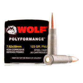Image For 20 Rounds Of 123 Grain FMJ Berdan Steel 7.62x39 Wolf Ammunition
