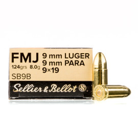 Image For 50 Rounds Of 124 Grain FMJ Boxer Brass 9mm Sellier and Bellot Ammunition