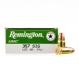 Image For 50 Rounds Of 125 Grain FMJ Boxer Brass 357 Sig Remington Ammunition