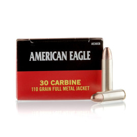 Image For 500 Rounds Of 110 Grain FMJ Boxer Brass 30 Carbine Federal Ammunition