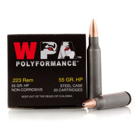 Image For 20 Rounds Of 55 Grain HP Berdan Steel 223 Rem Wolf Ammunition