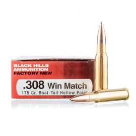 Image For 20 Rounds Of 175 Grain HPBT Boxer Brass 308 Win Black Hills Ammunition Ammunition