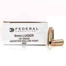 Image For 50 Rounds Of 147 Grain JHP Boxer Brass 9mm Federal Ammunition