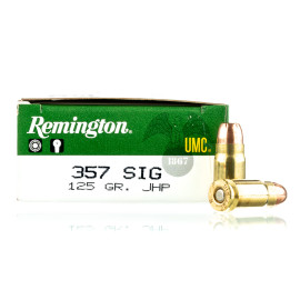 Image For 50 Rounds Of 125 Grain JHP Boxer Brass 357 Sig Remington Ammunition