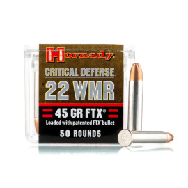Image For 500 Rounds Of 45 Grain FTX Rimfire Nickel-Plated Brass 22 WMR Hornady Ammunition
