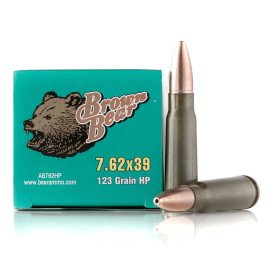 Image For 20 Rounds Of 123 Grain HP Berdan Steel 7.62x39 Brown Bear Ammunition