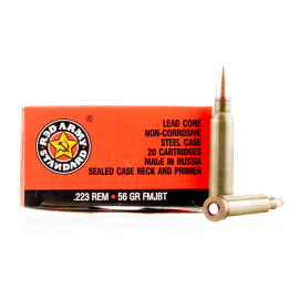 Image For 20 Rounds Of 56 Grain FMJ-BT Berdan Steel 223 Rem Red Army Standard Ammunition