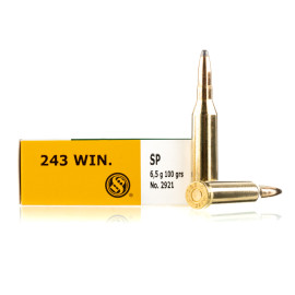 Image For 20 Rounds Of 100 Grain SP Boxer Brass 243 Win Sellier and Bellot Ammunition