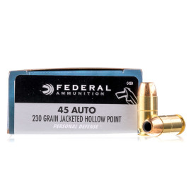 Image For 20 Rounds Of 230 Grain JHP Boxer Brass 45 Auto Federal Ammunition