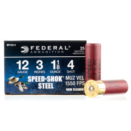 Image For 25 Rounds Of 1-1/8 oz. #4 Shot 12 Gauge Federal Ammunition