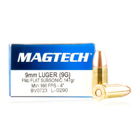 Image For 1000 Rounds Of 147 Grain FMJ Boxer Brass 9mm Magtech Ammunition