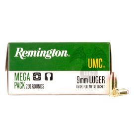 Image For 250 Rounds Of 115 Grain FMJ Boxer Brass 9mm Remington Ammunition