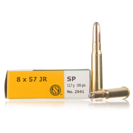 Sellier and Bellot 8x57 JR (Rimmed Mauser) Ammo - 20 Rounds of 196 Grain SP  Ammunition