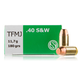 Image For 50 Rounds Of 180 Grain TMJ Boxer Brass 40 Cal Sellier and Bellot Ammunition