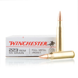 Image For 20 Rounds Of 55 Grain FMJ Boxer Brass 223 Rem Winchester Ammunition