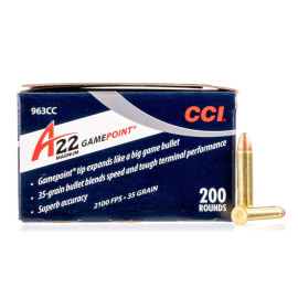 Image For 200 Rounds Of 35 Grain JSP Rimfire Brass 22 WMR CCI Ammunition