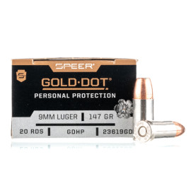 Image For 200 Rounds Of 147 Grain JHP Boxer Nickel-Plated Brass 9mm Speer Ammunition