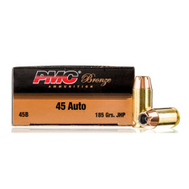 Image For 1000 Rounds Of 185 Grain JHP Boxer Brass 45 Auto PMC Ammunition