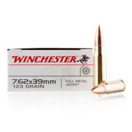 Image For 20 Rounds Of 123 Grain FMJ Boxer Brass 7.62x39 Winchester Ammunition