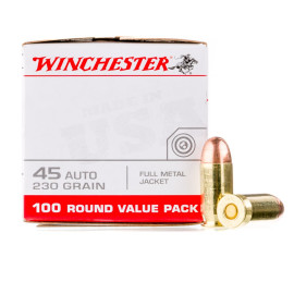 Image For 100 Rounds Of 230 Grain FMJ Boxer Brass 45 Auto Winchester Ammunition