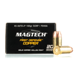 Image For 20 Rounds Of 165 Grain JHP Boxer Nickel-Plated Brass 45 Auto Magtech Ammunition