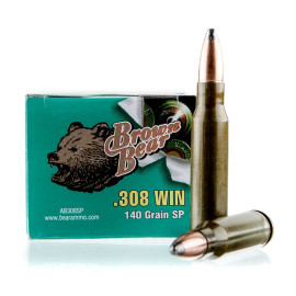 Image For 20 Rounds Of 140 Grain SP Berdan Steel 308 Win Brown Bear Ammunition