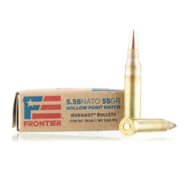 Image For 20 Rounds Of 55 Grain HP Boxer Brass 5.56x45 Hornady Ammunition