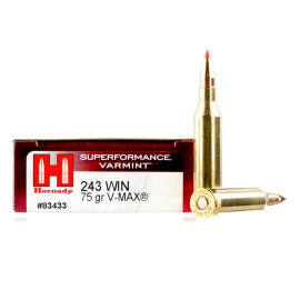 Image For 20 Rounds Of 75 Grain V-MAX Boxer Brass 243 Win Hornady Ammunition