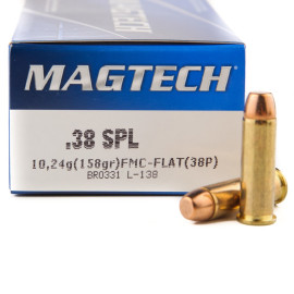 Image For 50 Rounds Of 158 Grain FMJ Boxer Brass 38 Special Magtech Ammunition