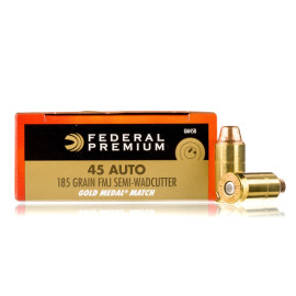 Image For 50 Rounds Of 185 Grain Semi-Wadcutter Boxer Brass 45 Auto Federal Ammunition