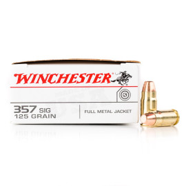 Image For 500 Rounds Of 125 Grain FMJ Boxer Brass 357 Sig Winchester Ammunition